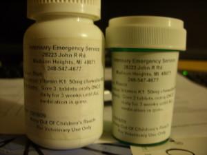 Blue and Rosco's prescribed vitamin K bottles